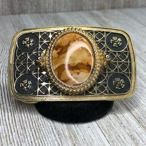 Other - Lightweight Gold Tone Natural Stone Belt Buckle